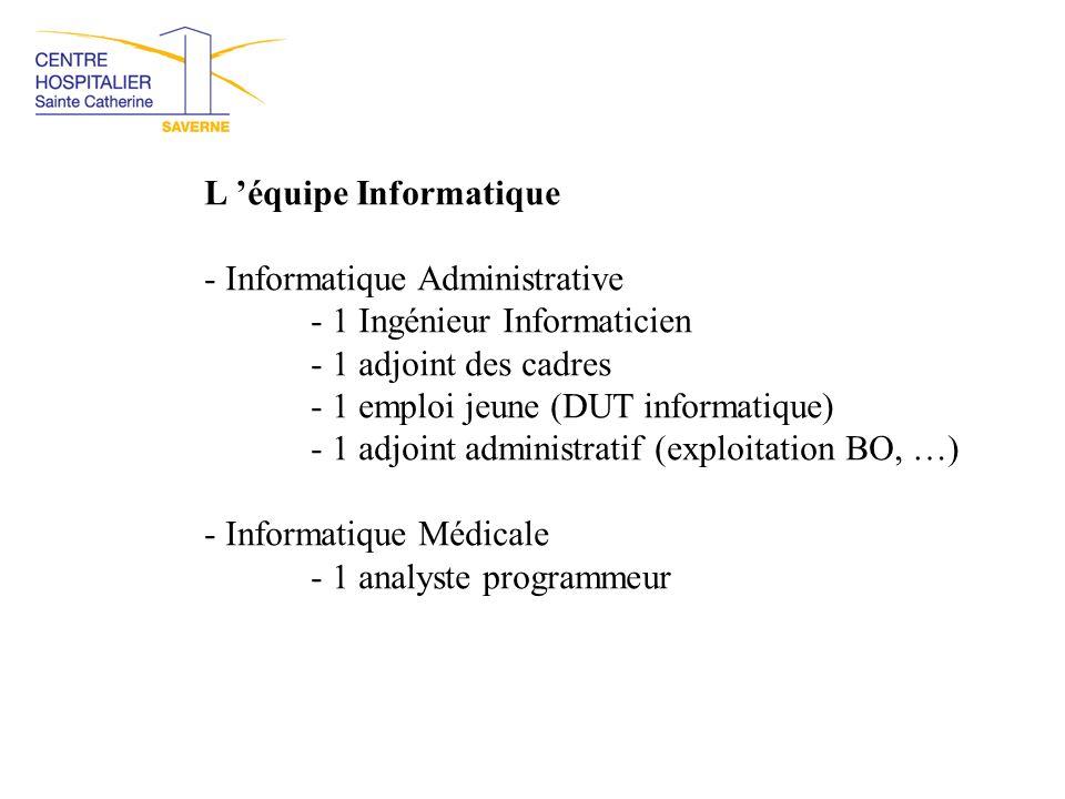 L 'équipe Informatique - Informatique Administrative - 1 Ingénieur Informaticien - 1 adjoint des cadres - 1 emploi jeune (DUT informatique) - 1 adjoin