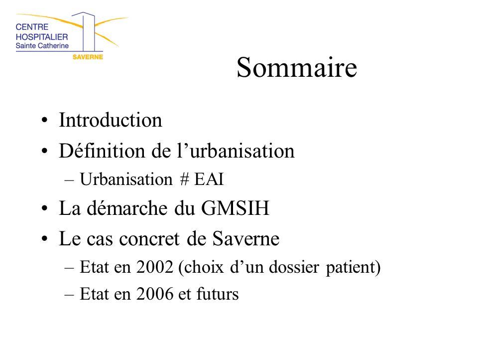 Sommaire Introduction Définition de l'urbanisation –Urbanisation # EAI La démarche du GMSIH Le cas concret de Saverne –Etat en 2002 (choix d'un dossie