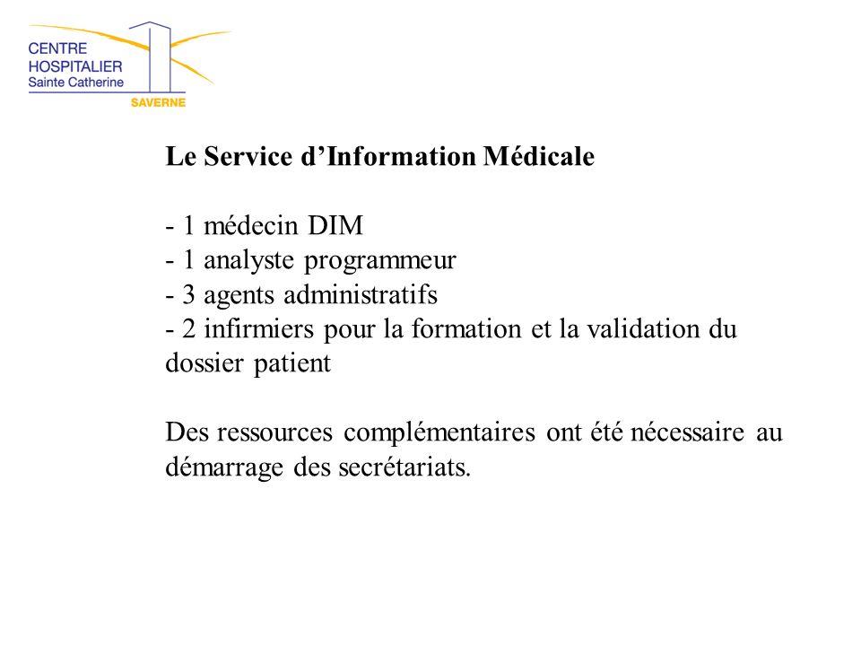 Le Service d'Information Médicale - 1 médecin DIM - 1 analyste programmeur - 3 agents administratifs - 2 infirmiers pour la formation et la validation