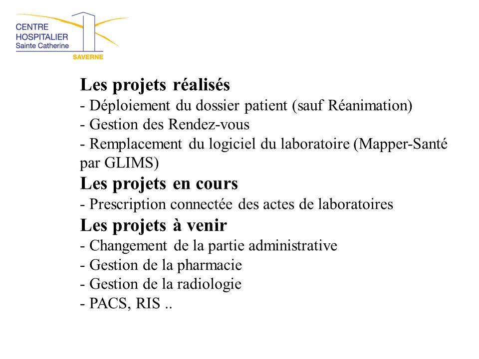 Les projets réalisés - Déploiement du dossier patient (sauf Réanimation) - Gestion des Rendez-vous - Remplacement du logiciel du laboratoire (Mapper-S