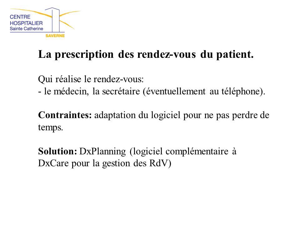 La prescription des rendez-vous du patient. Qui réalise le rendez-vous: - le médecin, la secrétaire (éventuellement au téléphone). Contraintes: adapta