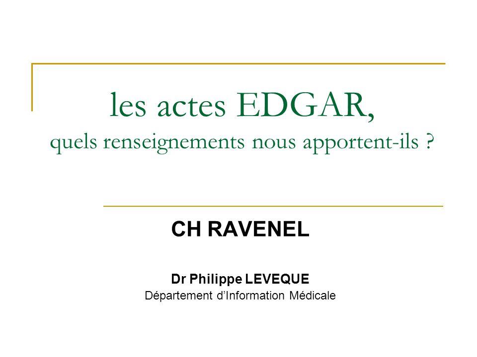 les actes EDGAR, quels renseignements nous apportent-ils ? CH RAVENEL Dr Philippe LEVEQUE Département d'Information Médicale