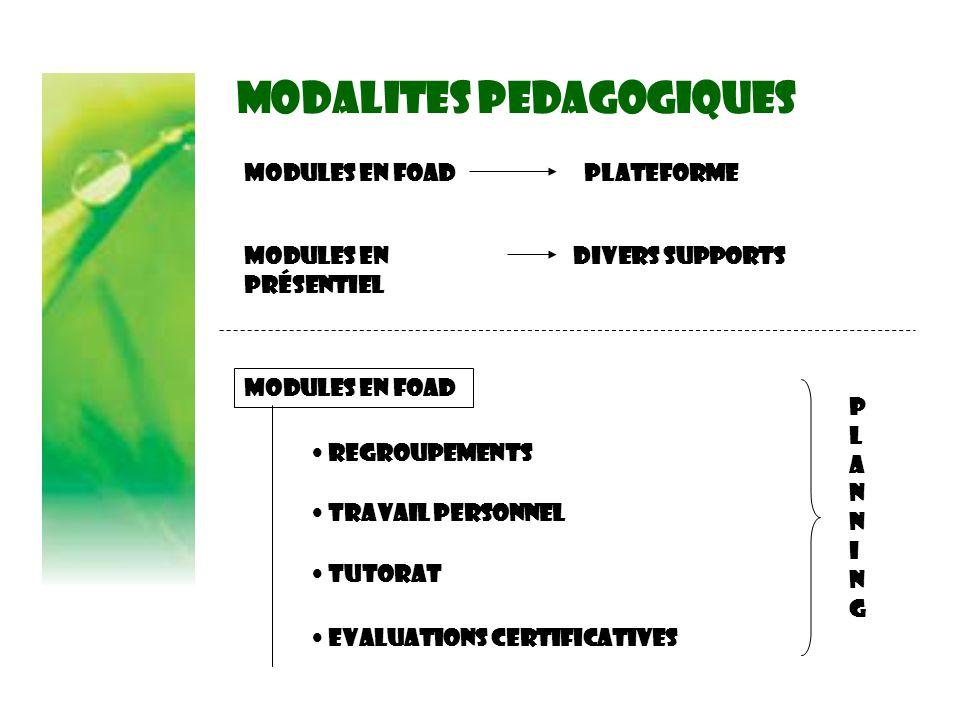 MODALITES PEDAGOGIQUES Modules en FOAD Modules en présentiel PLATEFORME DIVERS SUPPORTS Modules en FOAD REGROUPEMENTS TRAVAIL PERSONNEL TUTORAT EVALUATIONS CERTIFICATIVES PLANNINGPLANNING