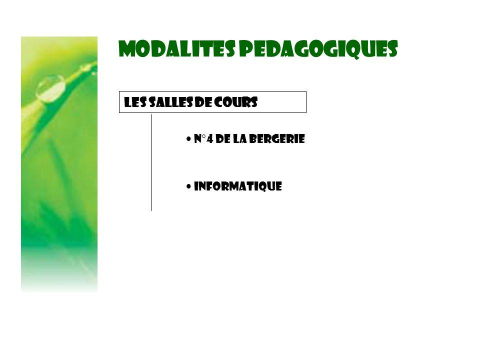MODALITES PEDAGOGIQUES Les salles de cours N°4 de la Bergerie Informatique