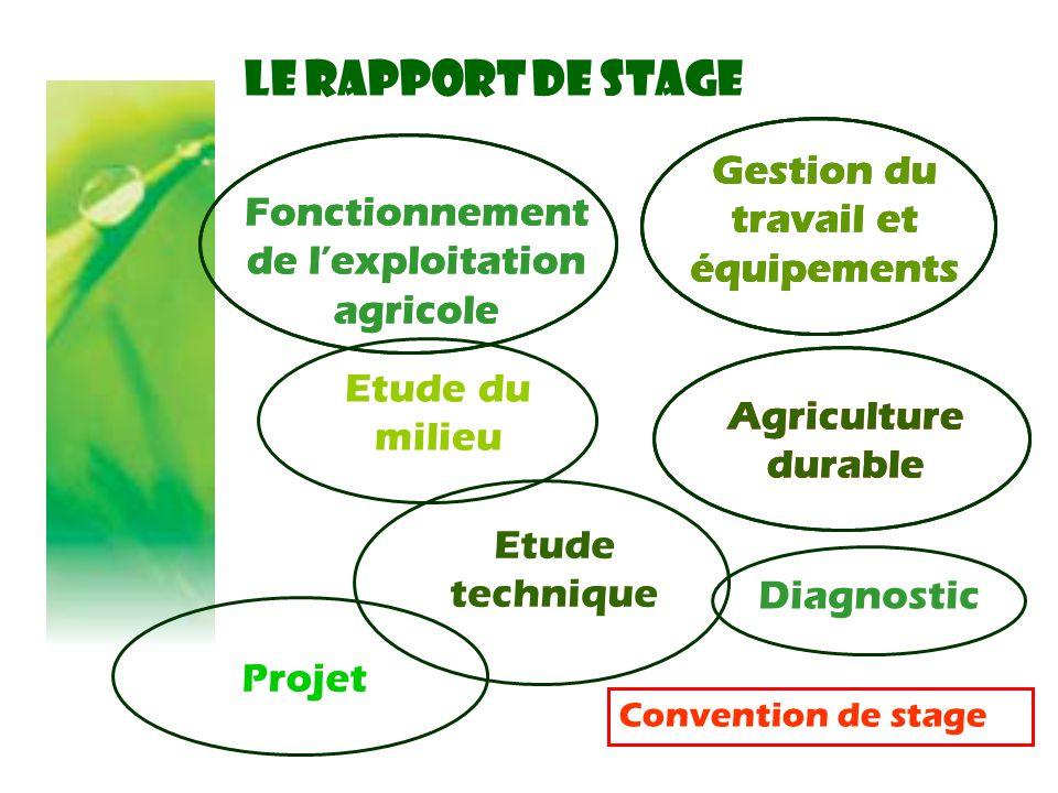 LE RAPPORT DE STAGE Fonctionnement de l'exploitation agricole Diagnostic Gestion du travail et équipements Convention de stage Etude technique Gestion