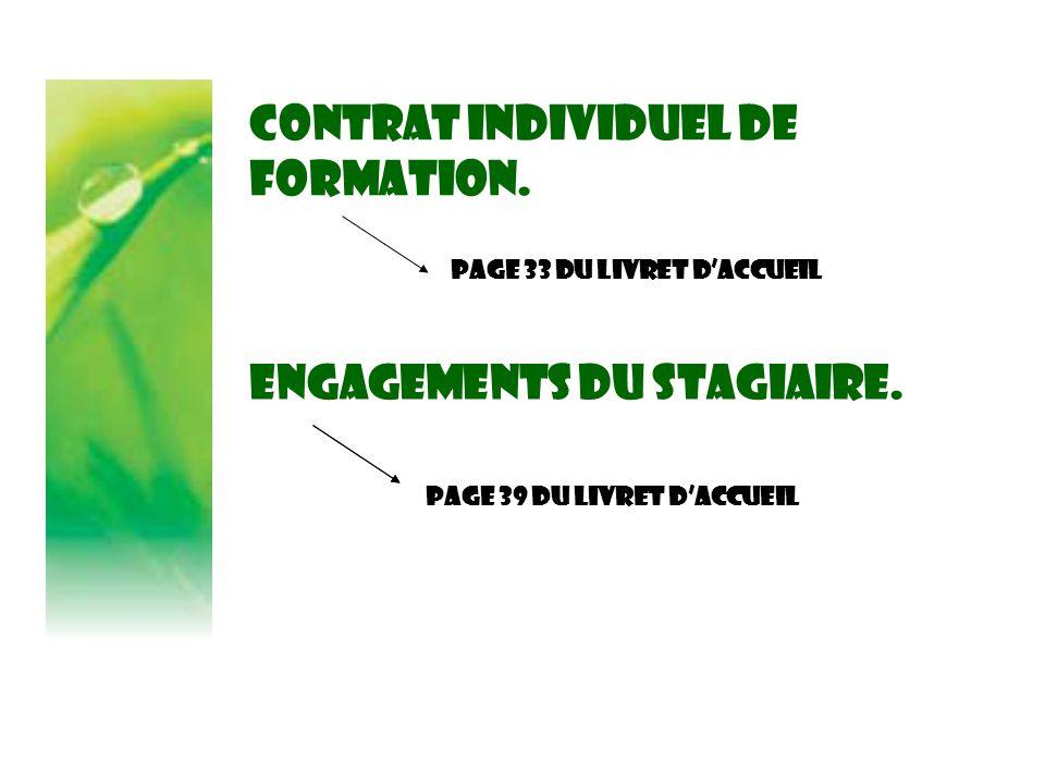 Contrat individuel de formation. Page 33 DU LIVRET D'ACCUEIL Engagements du stagiaire. Page 39 DU LIVRET D'ACCUEIL