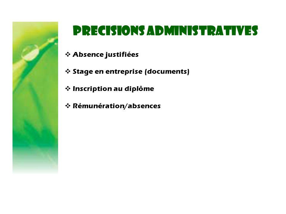 PRECISIONS administratives  Absence justifiées  Stage en entreprise (documents)  Inscription au diplôme  Rémunération/absences
