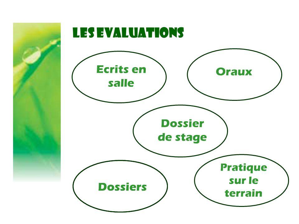 LES EVALUATIONS Ecrits en salle Pratique sur le terrain Dossiers Dossier de stage Oraux Dossiers