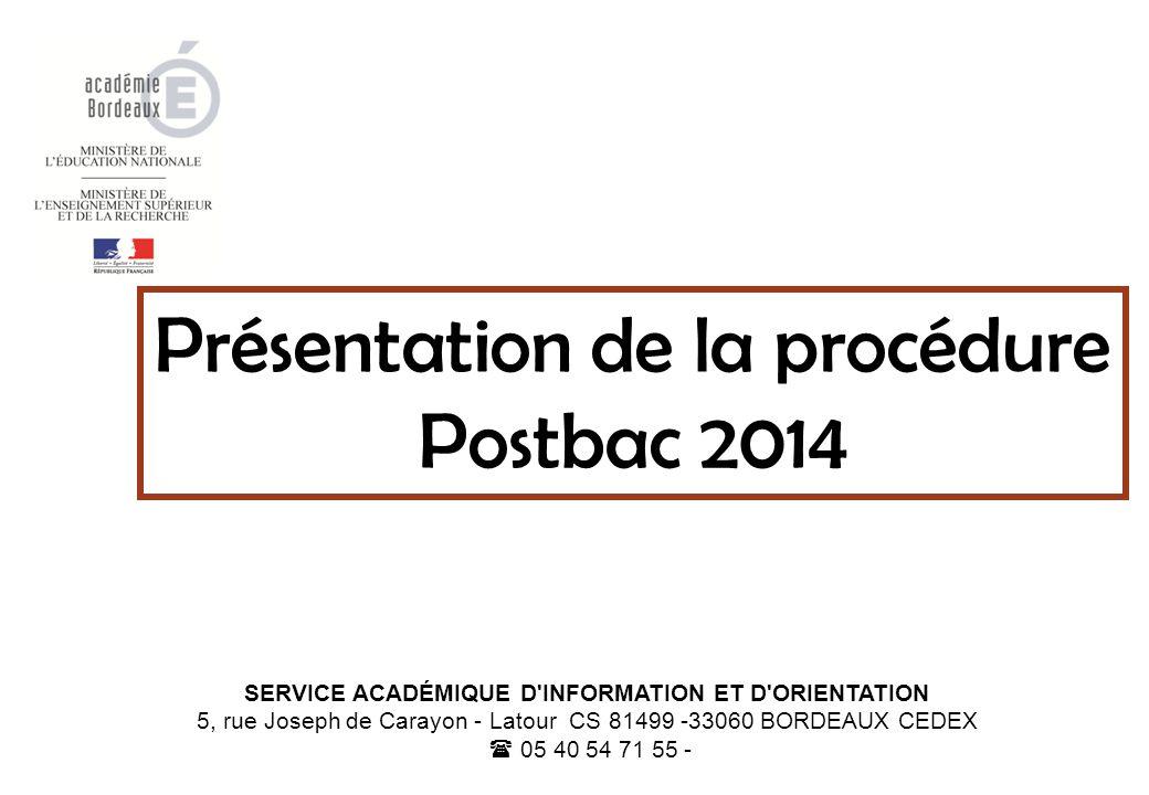 SERVICE ACADÉMIQUE D INFORMATION ET D ORIENTATION 5, rue Joseph de Carayon - Latour CS 81499 -33060 BORDEAUX CEDEX  05 40 54 71 55 - Présentation de la procédure Postbac 2014