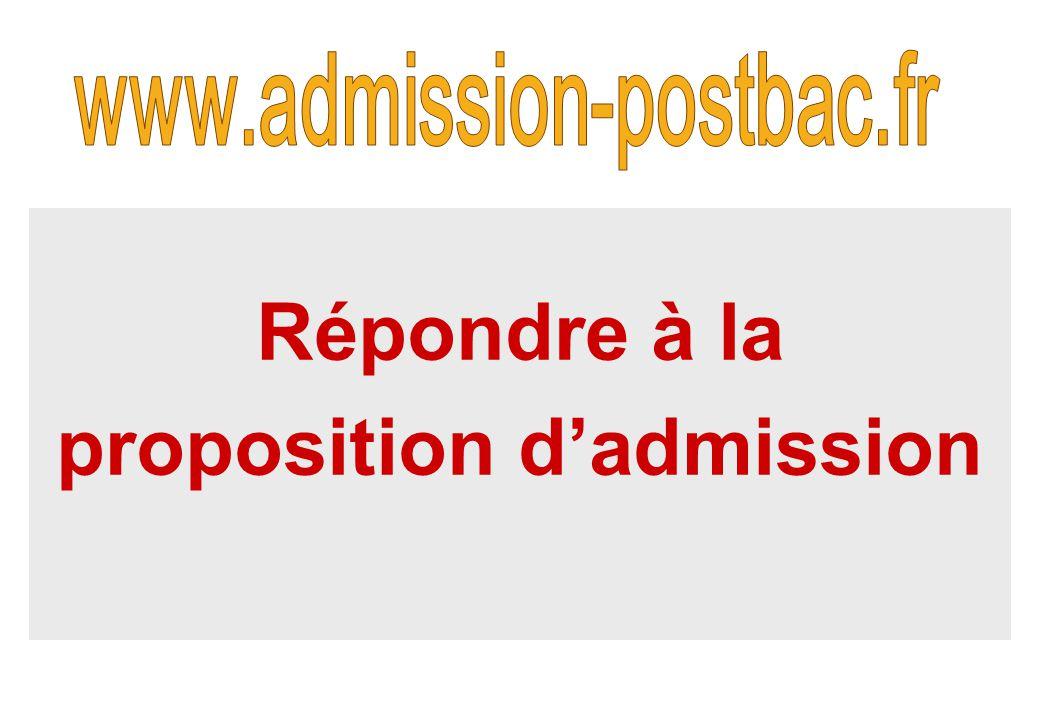 Répondre à la proposition d'admission