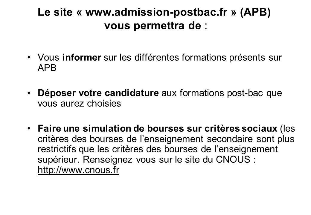Le site « www.admission-postbac.fr » (APB) vous permettra de : Vous informer sur les différentes formations présents sur APB Déposer votre candidature aux formations post-bac que vous aurez choisies Faire une simulation de bourses sur critères sociaux (les critères des bourses de l'enseignement secondaire sont plus restrictifs que les critères des bourses de l'enseignement supérieur.
