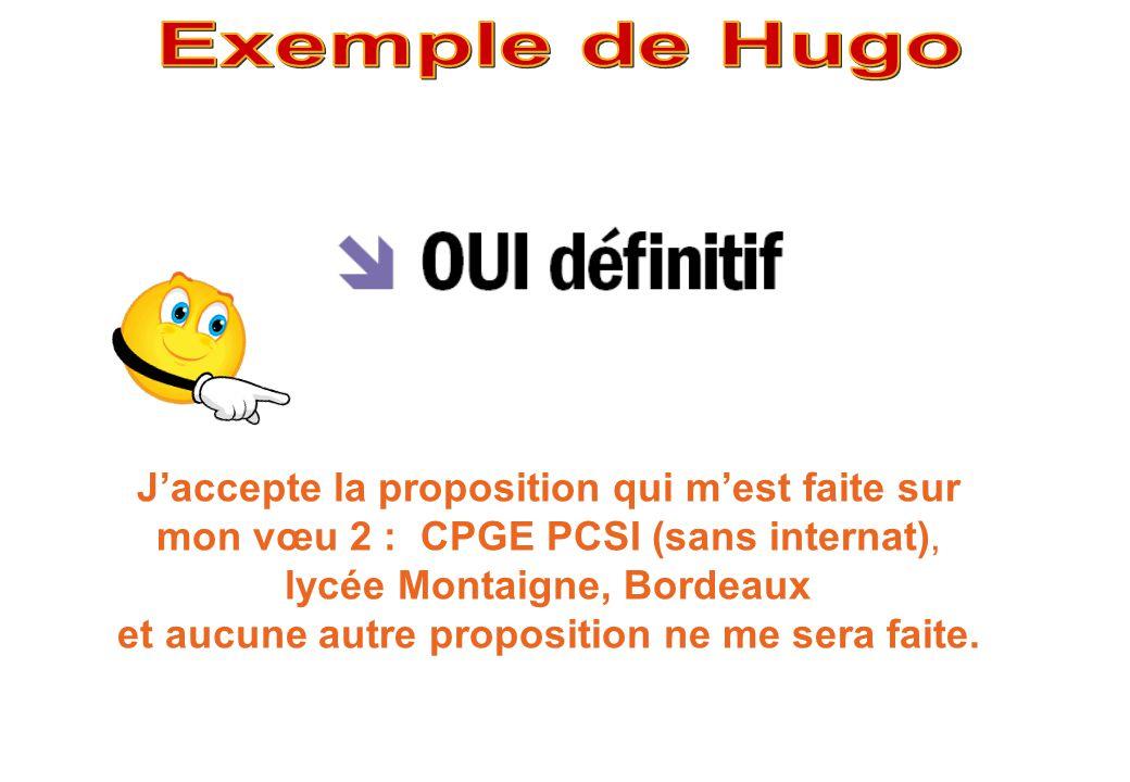 J'accepte la proposition qui m'est faite sur mon vœu 2 : CPGE PCSI (sans internat), lycée Montaigne, Bordeaux et aucune autre proposition ne me sera f