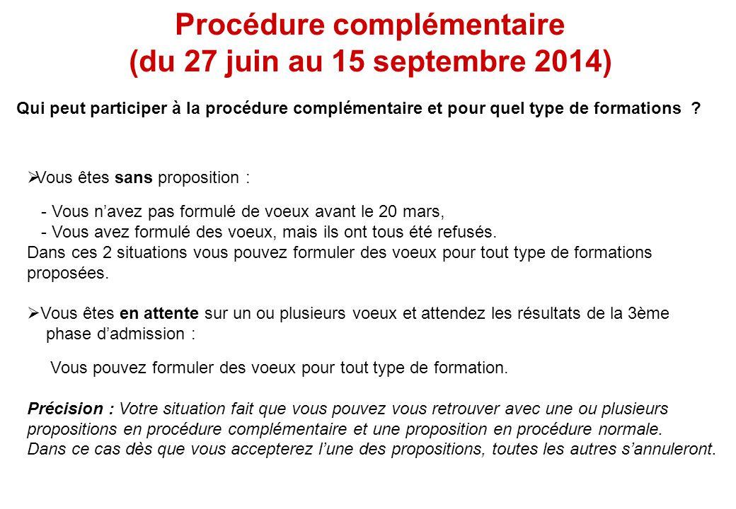 Procédure complémentaire (du 27 juin au 15 septembre 2014) Qui peut participer à la procédure complémentaire et pour quel type de formations ?  Vous
