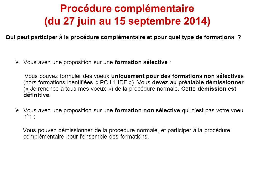  Vous avez une proposition sur une formation sélective : Vous pouvez formuler des voeux uniquement pour des formations non sélectives (hors formations identifiées « PC L1 IDF »).