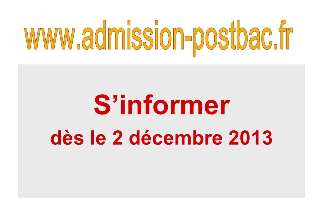 S'informer dès le 2 décembre 2013