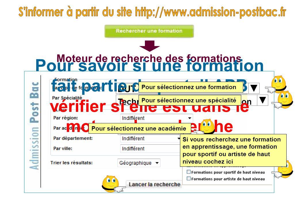 DUT Techniques de commercialisation Poitiers Moteur de recherche des formations Pour savoir si une formation fait partie du portail APB vérifier si el