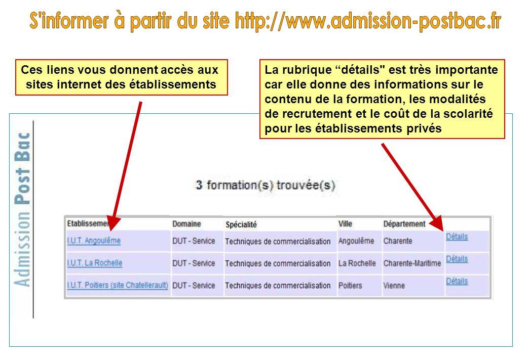 """Ces liens vous donnent accès aux sites internet des établissements La rubrique """"détails"""