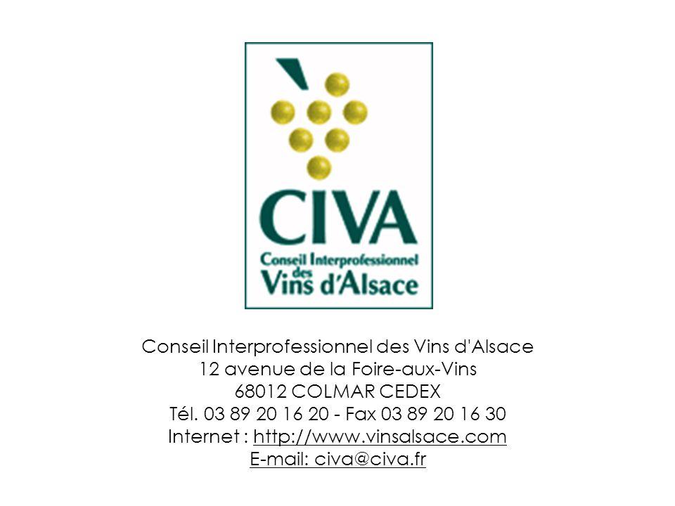 Conseil Interprofessionnel des Vins d'Alsace 12 avenue de la Foire-aux-Vins 68012 COLMAR CEDEX Tél. 03 89 20 16 20 - Fax 03 89 20 16 30 Internet : htt