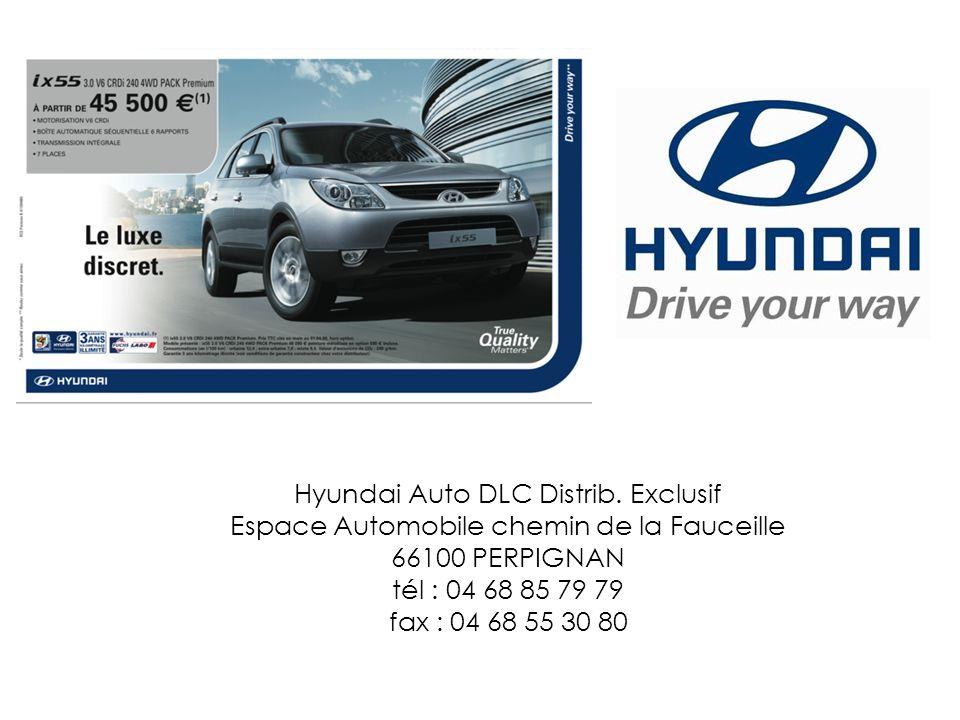 Hyundai Auto DLC Distrib. Exclusif Espace Automobile chemin de la Fauceille 66100 PERPIGNAN tél : 04 68 85 79 79 fax : 04 68 55 30 80