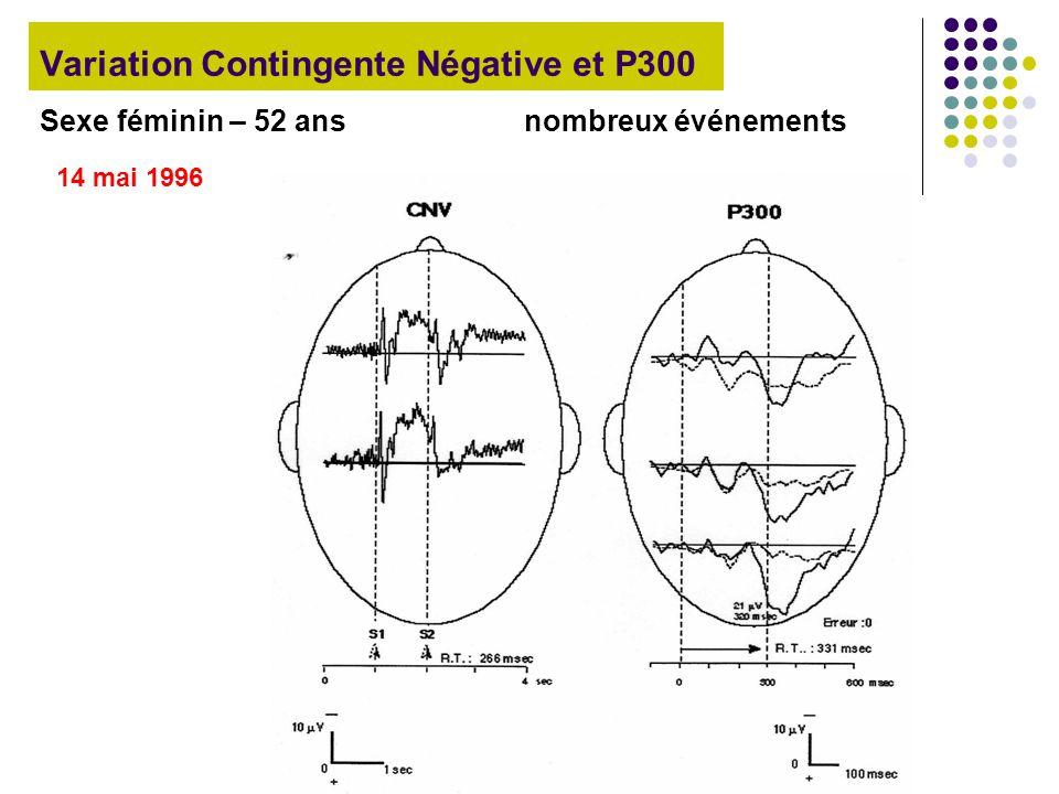 Variation Contingente Négative et P300 Sexe féminin – 52 ans nombreux événements 14 mai 1996