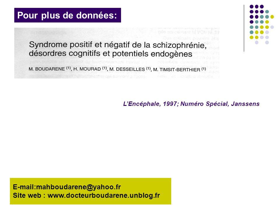 E-mail:mahboudarene@yahoo.fr Site web : www.docteurboudarene.unblog.fr Pour plus de données: L'Encéphale, 1997; Numéro Spécial, Janssens
