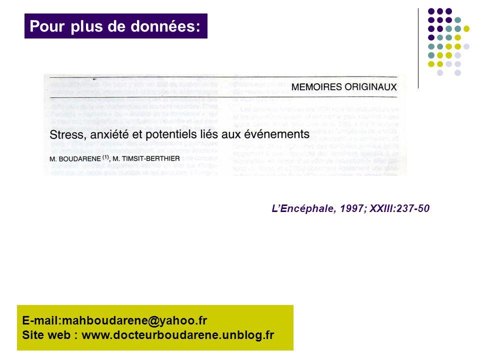 Pour plus de données: E-mail:mahboudarene@yahoo.fr Site web : www.docteurboudarene.unblog.fr L'Encéphale, 1997; XXIII:237-50