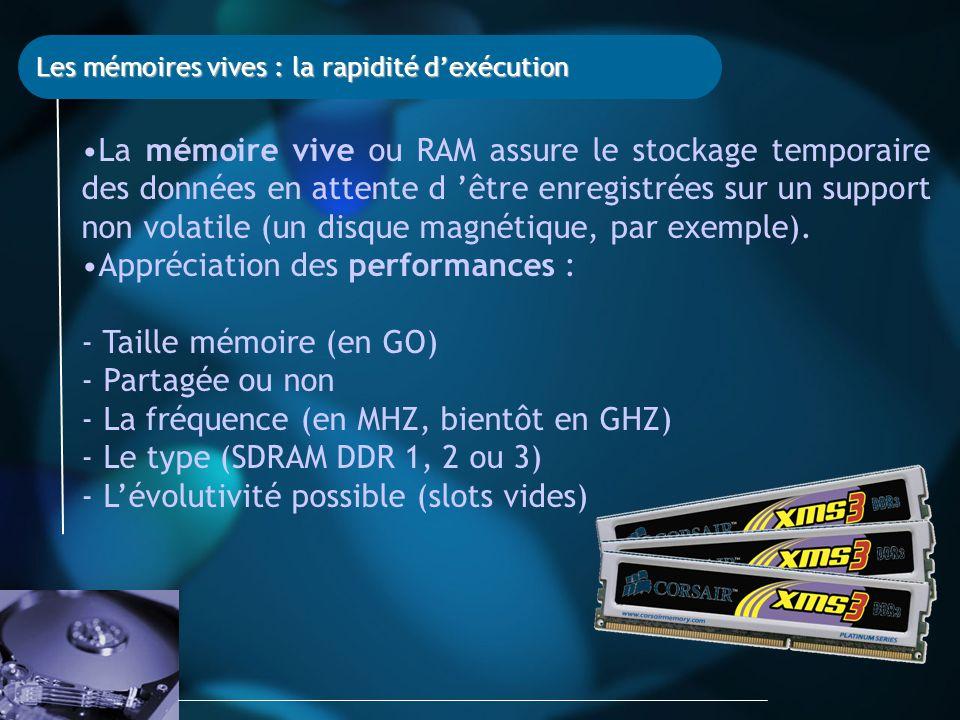 Les mémoires vives : la rapidité d'exécution La mémoire vive ou RAM assure le stockage temporaire des données en attente d 'être enregistrées sur un support non volatile (un disque magnétique, par exemple).