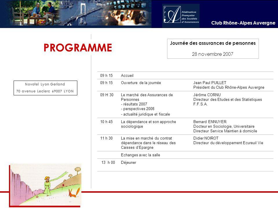Club Rhône-Alpes Auvergne Journée des assurances de personnes 28 novembre 2007 PROGRAMME 09 h 15Accueil 09 h 15Ouverture de la journéeJean Paul PUILLE