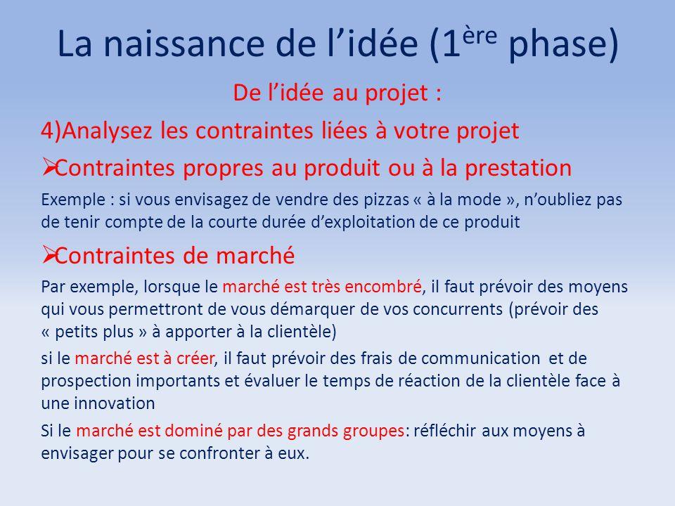 La naissance de l'idée (1 ère phase) De l'idée au projet : 4)Analysez les contraintes liées à votre projet  Contraintes propres au produit ou à la pr