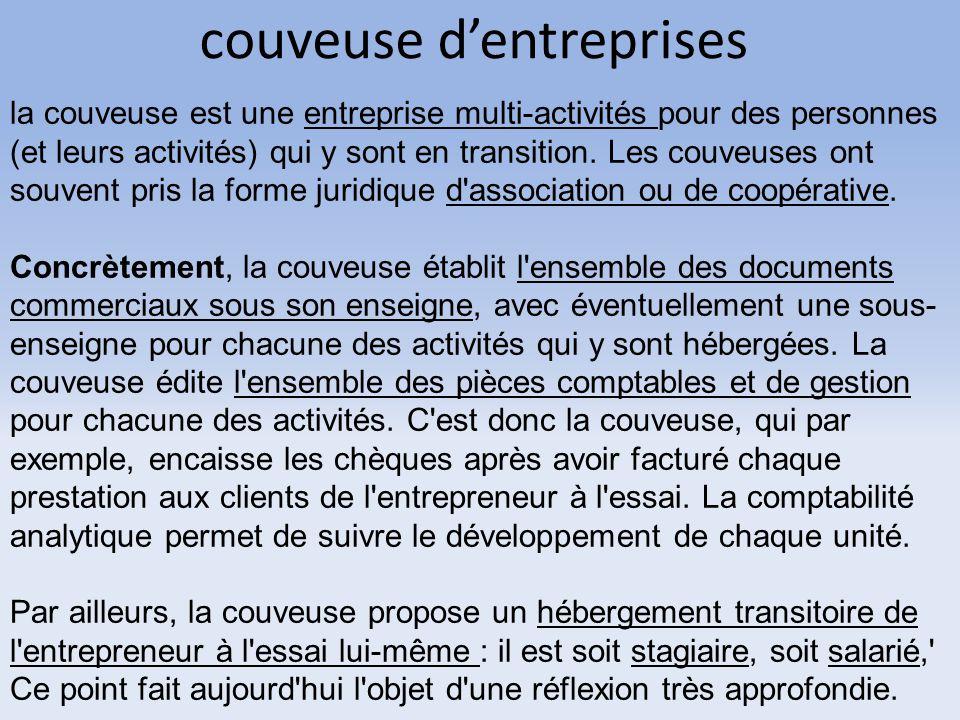 couveuse d'entreprises la couveuse est une entreprise multi-activités pour des personnes (et leurs activités) qui y sont en transition. Les couveuses