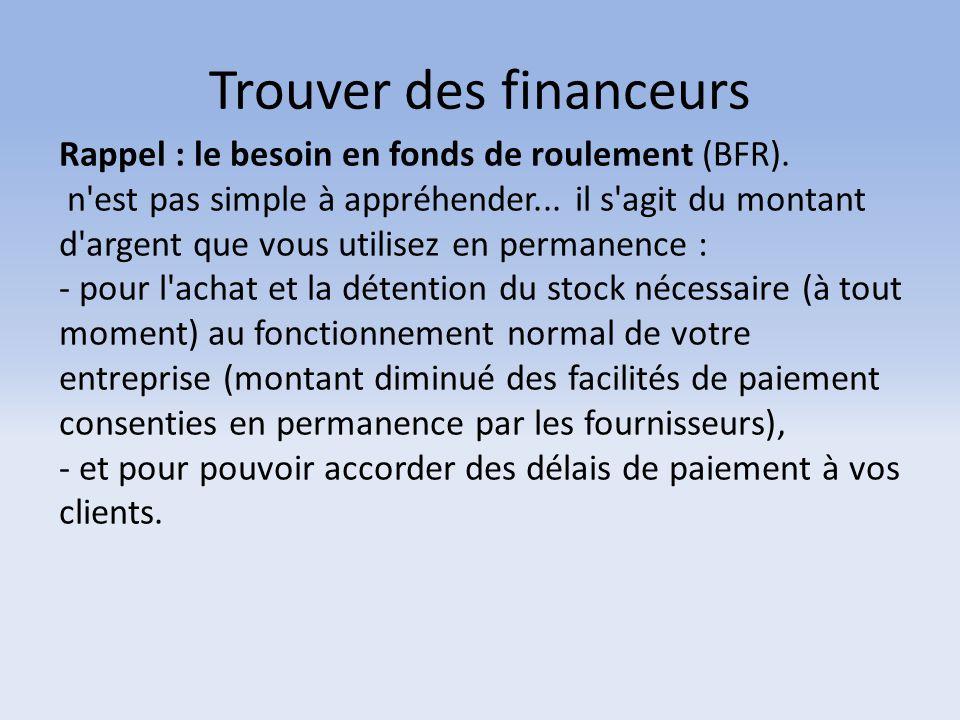 Trouver des financeurs Rappel : le besoin en fonds de roulement (BFR). n'est pas simple à appréhender... il s'agit du montant d'argent que vous utilis