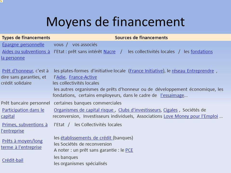 Moyens de financement Types de financementsSources de financements Épargne personnelle vous / vos associés Aides ou subventions à la personne Aides ou