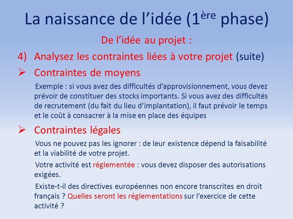 La naissance de l'idée (1 ère phase) De l'idée au projet : 4)Analysez les contraintes liées à votre projet (suite)  Contraintes de moyens Exemple : s