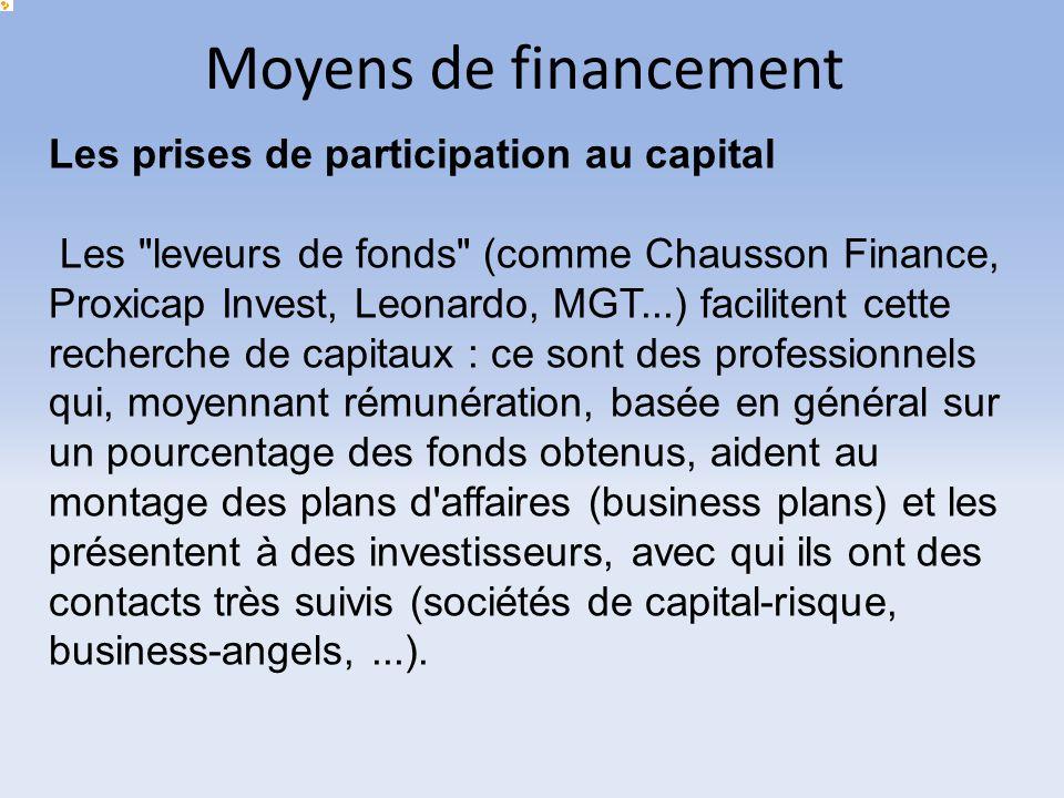 Moyens de financement Les prises de participation au capital Les