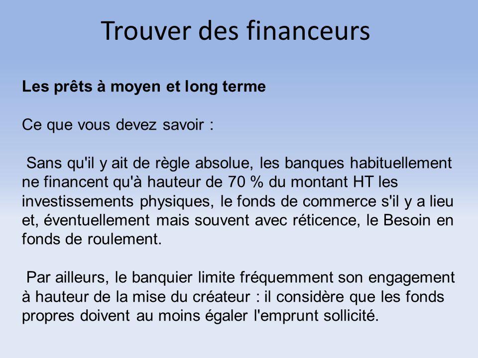 Trouver des financeurs Les prêts à moyen et long terme Ce que vous devez savoir : Sans qu'il y ait de règle absolue, les banques habituellement ne fin