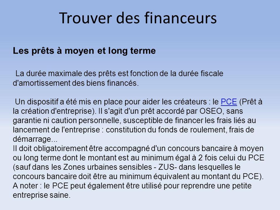 Trouver des financeurs Les prêts à moyen et long terme La durée maximale des prêts est fonction de la durée fiscale d'amortissement des biens financés