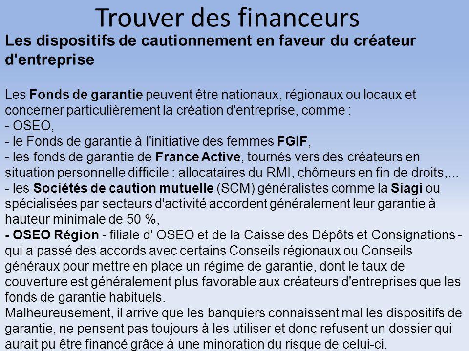 Trouver des financeurs Les dispositifs de cautionnement en faveur du créateur d'entreprise Les Fonds de garantie peuvent être nationaux, régionaux ou