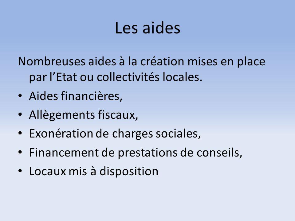 Les aides Nombreuses aides à la création mises en place par l'Etat ou collectivités locales. Aides financières, Allègements fiscaux, Exonération de ch