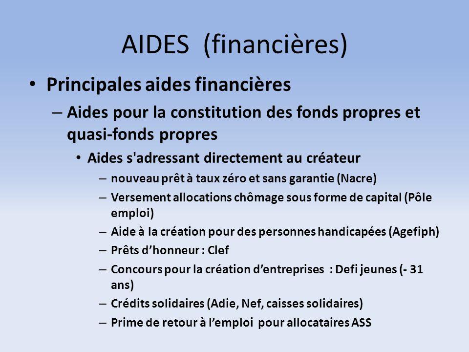 AIDES (financières) Principales aides financières – Aides pour la constitution des fonds propres et quasi-fonds propres Aides s'adressant directement