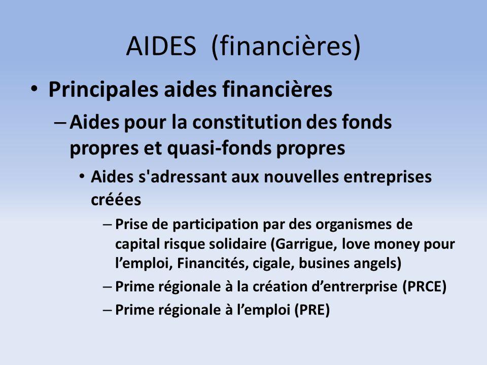 AIDES (financières) Principales aides financières – Aides pour la constitution des fonds propres et quasi-fonds propres Aides s'adressant aux nouvelle