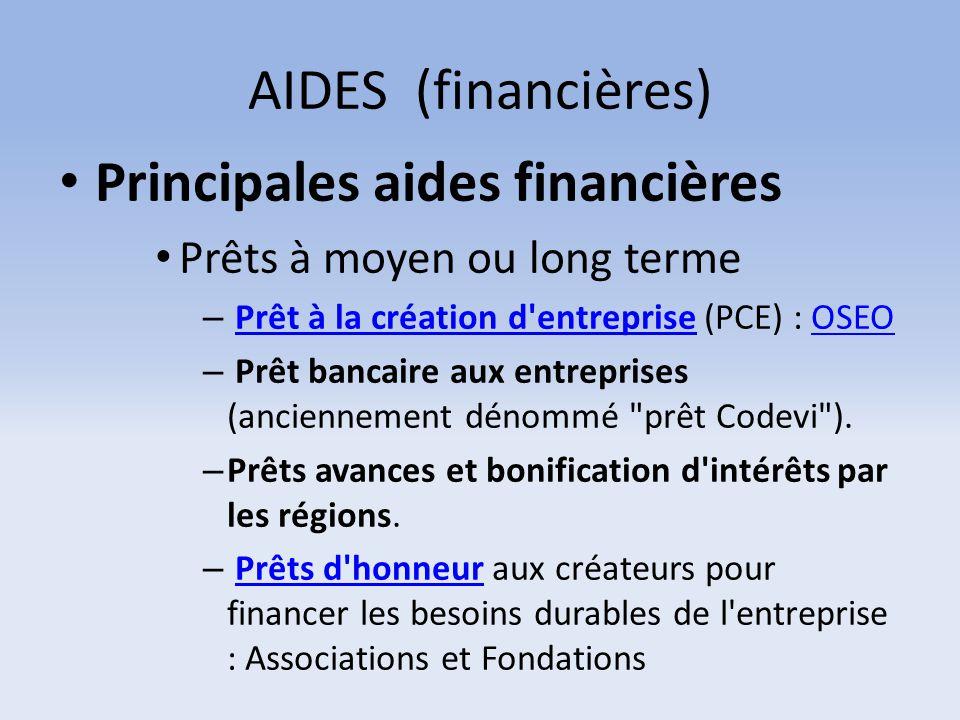 AIDES (financières) Principales aides financières Prêts à moyen ou long terme – Prêt à la création d'entreprise (PCE) : OSEOPrêt à la création d'entre