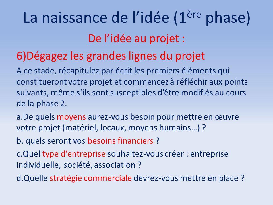 La naissance de l'idée (1 ère phase) De l'idée au projet : 6)Dégagez les grandes lignes du projet A ce stade, récapitulez par écrit les premiers éléme