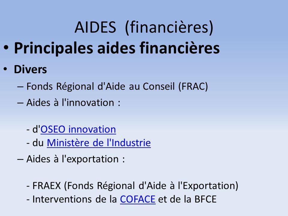 AIDES (financières) Principales aides financières Divers – Fonds Régional d'Aide au Conseil (FRAC) – Aides à l'innovation : - d'OSEO innovation - du M