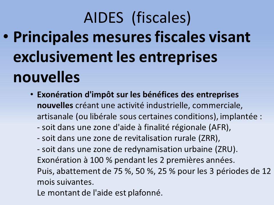 AIDES (fiscales) Principales mesures fiscales visant exclusivement les entreprises nouvelles Exonération d'impôt sur les bénéfices des entreprises nou