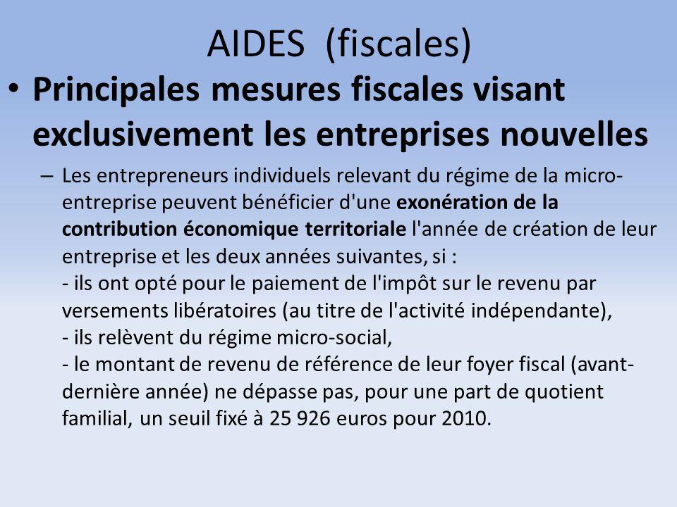 AIDES (fiscales) Principales mesures fiscales visant exclusivement les entreprises nouvelles – Les entrepreneurs individuels relevant du régime de la