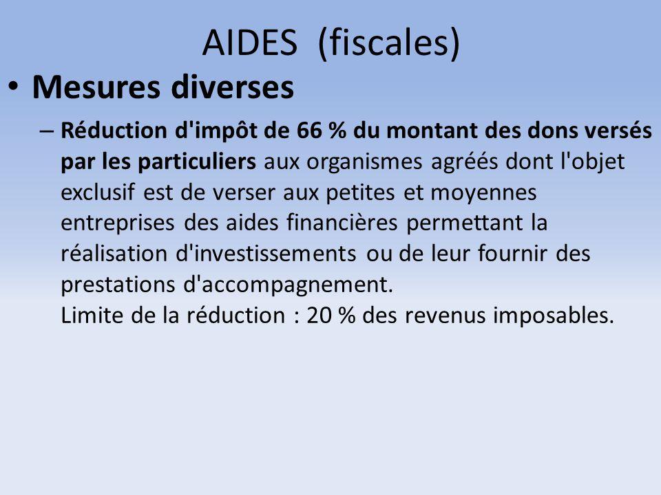 AIDES (fiscales) Mesures diverses – Réduction d'impôt de 66 % du montant des dons versés par les particuliers aux organismes agréés dont l'objet exclu