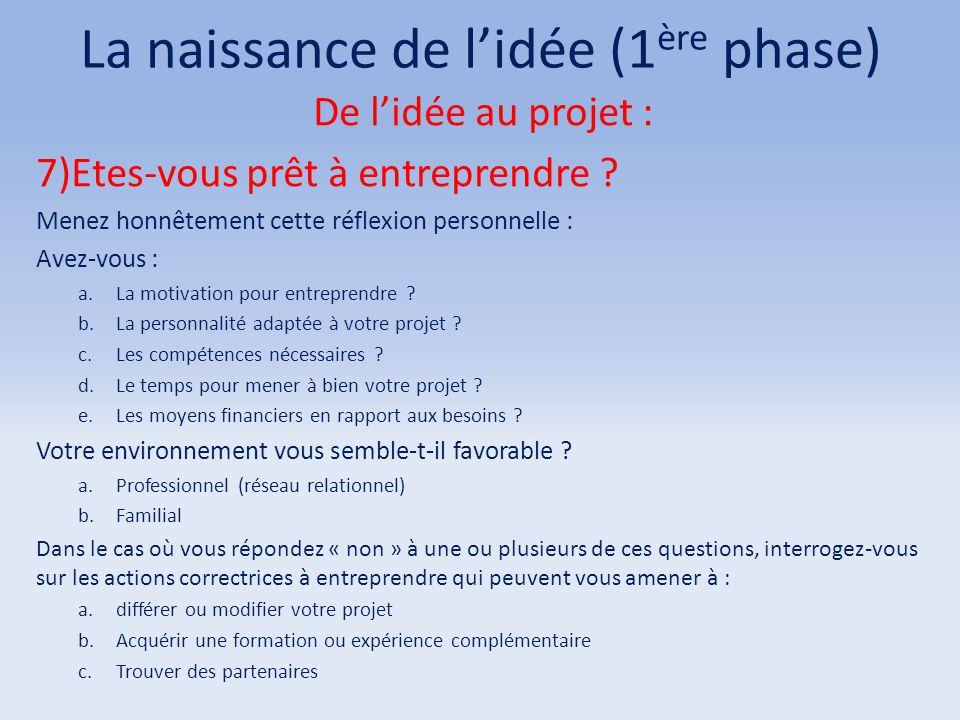 La naissance de l'idée (1 ère phase) De l'idée au projet : 7)Etes-vous prêt à entreprendre ? Menez honnêtement cette réflexion personnelle : Avez-vous