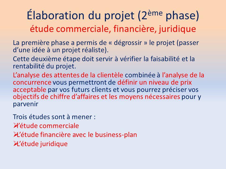 Élaboration du projet (2 ème phase) étude commerciale, financière, juridique La première phase a permis de « dégrossir » le projet (passer d'une idée