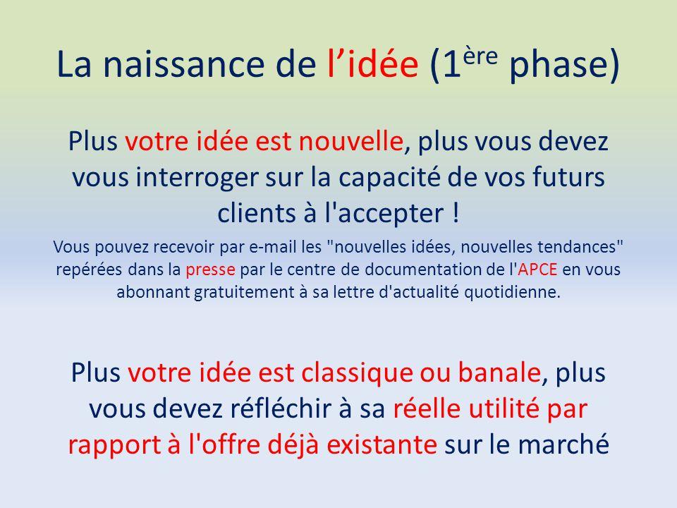 La naissance de l'idée (1 ère phase) Plus votre idée est nouvelle, plus vous devez vous interroger sur la capacité de vos futurs clients à l'accepter