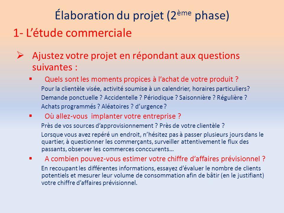 Élaboration du projet (2 ème phase)  Ajustez votre projet en répondant aux questions suivantes :  Quels sont les moments propices à l'achat de votre